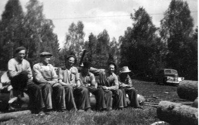 Sagarlaget ojan samlat pa kubbabacken mitten av 1950 talet
