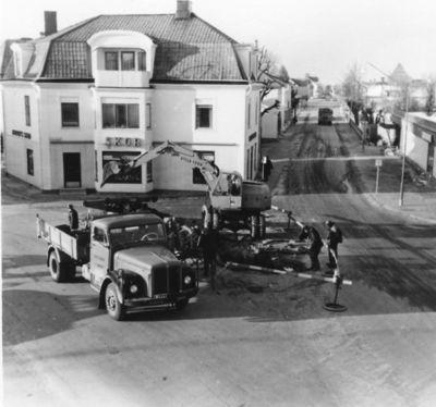 Vattenledningsbrott vid torget odeshog 10 2 1965