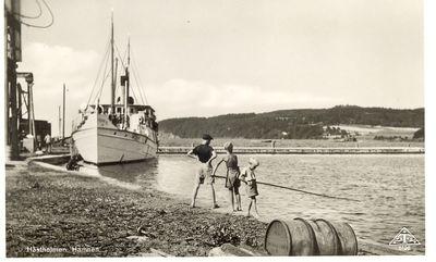 Tre pojkar i hastholmens hamn